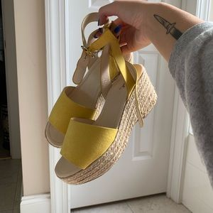 yellow platform espadrilles sandals